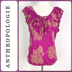 Anthropologie Deletta fuchsia ruffled floral top